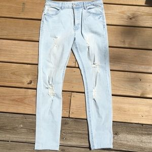 Forever 21 High Waisted Ripped Light Blue Jeans